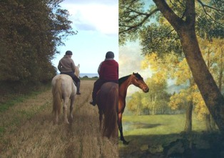 """""""Hunters by a Field by a Lake (Orton and Stubbs)"""", photomontage, A3 colour digital print"""