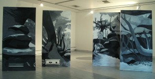"""""""The Elder Scrolls (painted together)"""". Wood, black and white acrylic paint"""