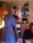 Hour 23. Katie and mum dancing in the kitchen